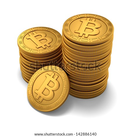 3D rendering of small group of engraved golden Bitcoins on white background - stock photo