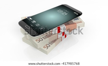 3D rendering of smartphone on 50 Euros banknotes bundles stack,on white  - stock photo