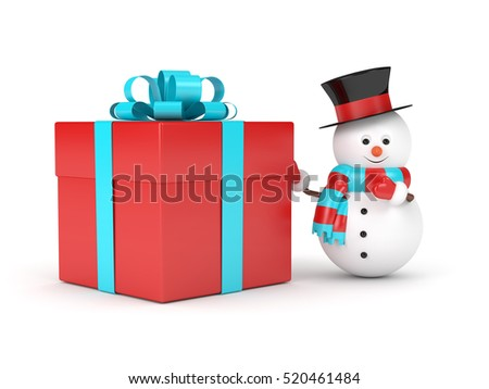 3d rendering of snowman with present isolated over white background