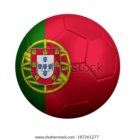 3D rendering of soccer ball wrapped in Portugal's national flag. Portugal is a soccer powerhouse in European and international competitions.