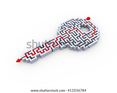 3d rendering of solved key shape labyrinth puzzle maze - stock photo