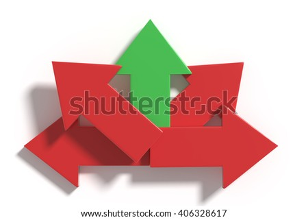 3d rendering of some arrows on white background in different directions.From above