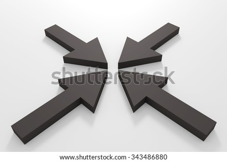 3d rendering of some black arrows on a white floor - stock photo
