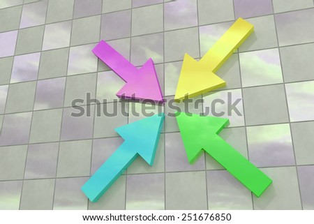 3d rendering of some colored arrows on a tiles floor - stock photo
