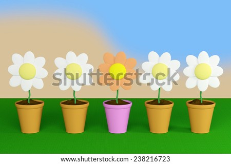 3d rendering of some flowers on a pot