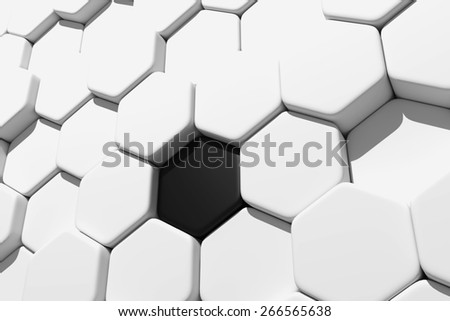 3d rendering of some white hexagons and one black - stock photo