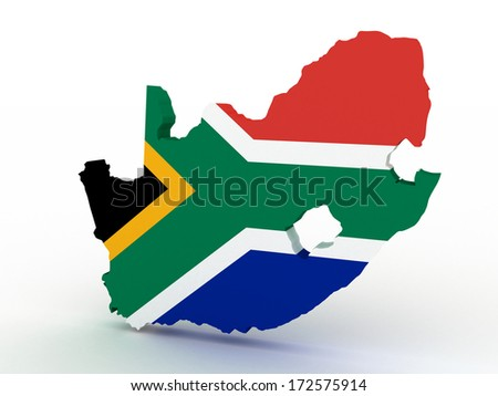 3d rendering of South Africa map with flag on a white background