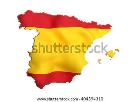 3d rendering of Spain map and flag on background.