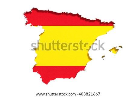 3d rendering of Spain map and flag on white background.