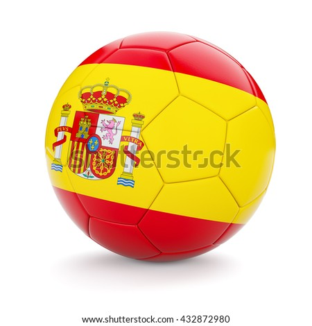 3d rendering of Spain soccer football ball with Spanish flag isolated on white background - stock photo