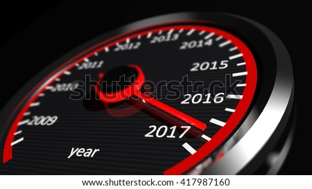 3D rendering of speedometer with 2017 closeup, on black background. - stock photo