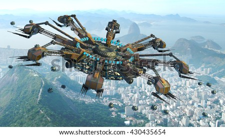 3D Rendering of spider-shaped UFO and drones, above buildings in Rio de Janeiro, Brazil, for futuristic, fantasy, interstellar travel or wargame backgrounds. - stock photo