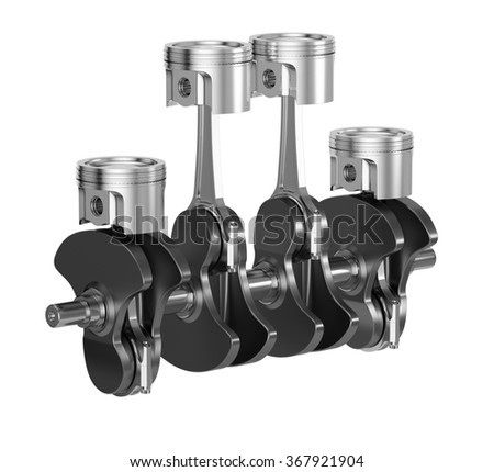 3d rendering of sport car motor engine pistons with crankshaft isolated on white background - stock photo