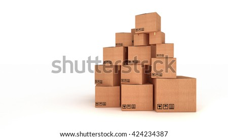 3D rendering of Stacks of cardboard boxes isolated on white background