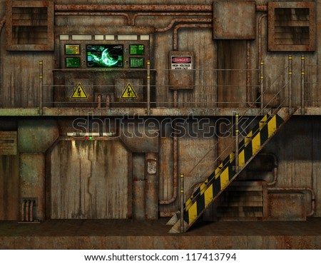 3D Rendering of Stairs in the control room - stock photo