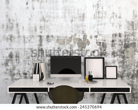 3D Rendering of Stylish black and white home work space with a desktop computer and blank picture frames on a modern elegant desk with office supplies - stock photo