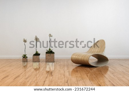 3D Rendering of Stylish contemporary living room interior with an unusual bentwood chair facing three potted orchids in flower on a polished shiny parquet floor and white wall - stock photo