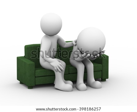 3d rendering of supporting man consoling and comforting sad frustrated depressed man sitting on sofa.
