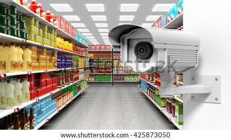 3D rendering of surveillance camera in supermarket.