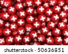3d rendering of Swiss soccer balls. Perfect for background - stock photo