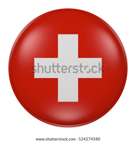 3d rendering of  Switzerland flag on a button