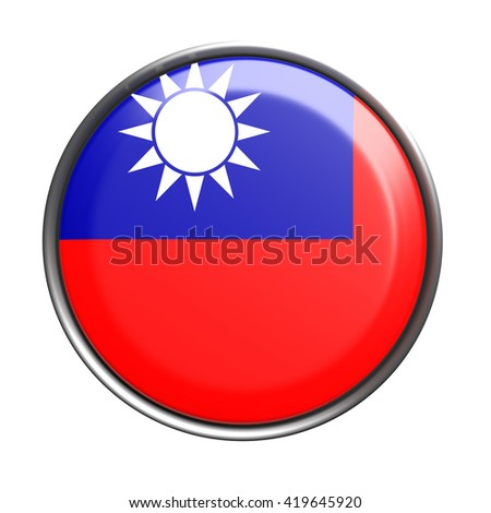 3d rendering of Taiwan button with flag on white background - stock photo