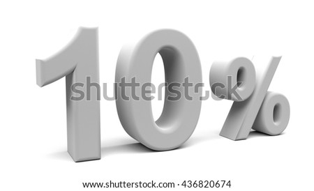 3D rendering of Ten percents text in big letters on a white background.