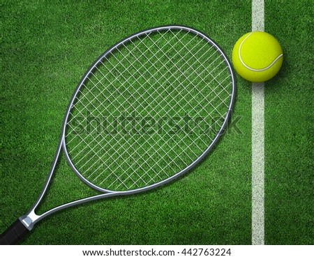 3d rendering of tennis balls and racket on tennis grass court.  - stock photo