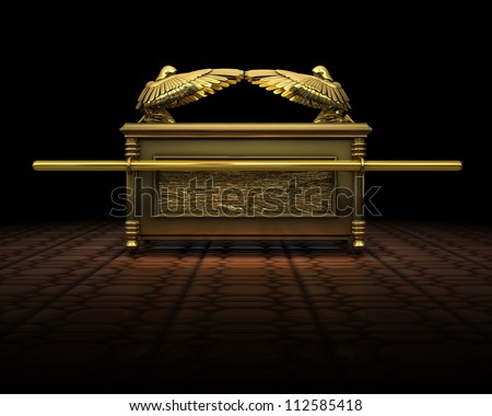 3d Rendering of the ark of the covenant as described in the bible.