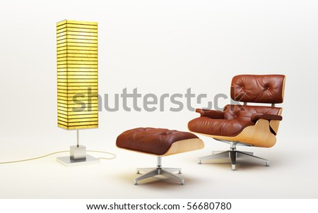 3d rendering of the asian lounge room - stock photo