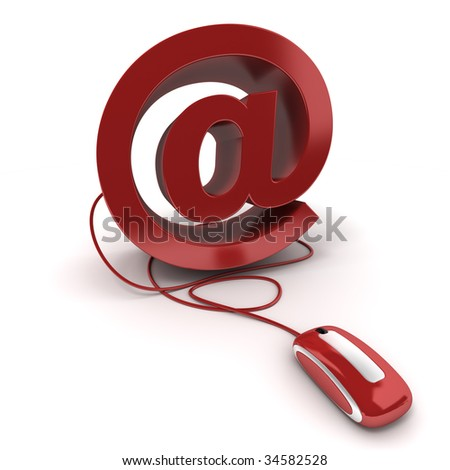 3D rendering of the at symbol in red connected to a computer mouse on a white background