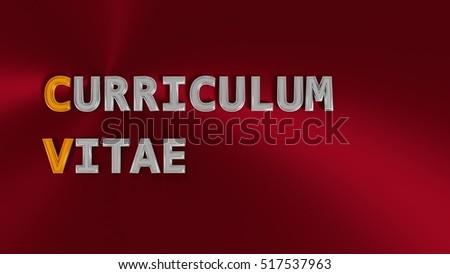 3 d rendering cv acronym metallic words stock illustration 517537963
