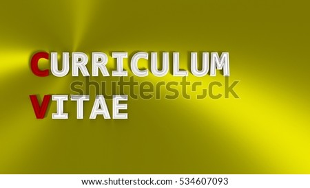 3 d rendering cv acronym metallic words stock illustration 534607093