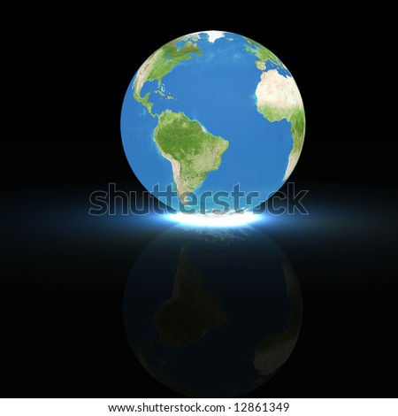 3d rendering of the earth globe on black background