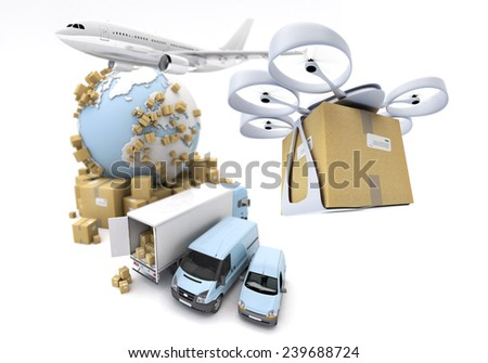 3D rendering of the Earth surrounded by an airplane, truck, van and a flying drone with a package attached. The Earth texture comes from the Nasa free of use images - stock photo