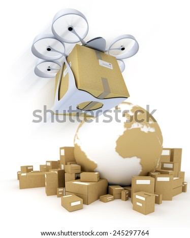 3D rendering of the Earth surrounded by boxes and a flying drone with a box attached to it - stock photo