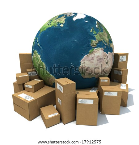 3D rendering of the Earth with a heap of cardboard boxes - stock photo
