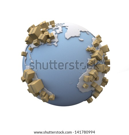 3D rendering of the Earth with lots of cardboard boxes everywhere - stock photo