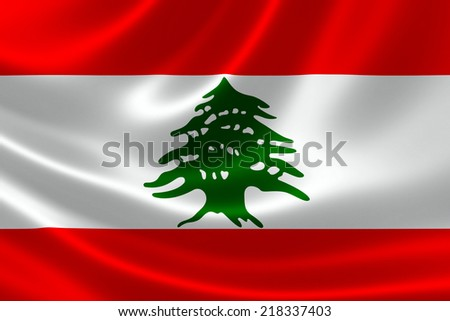 3D rendering of the flag of Lebanon on satin texture.