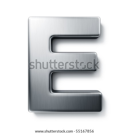 3d rendering of the letter E in brushed metal on a white isolated background. - stock photo