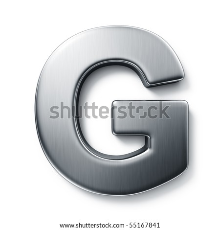 3d rendering of the letter G in brushed metal on a white isolated background. - stock photo