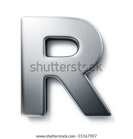 3d rendering of the letter R in brushed metal on a white isolated background.