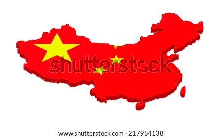 3D rendering of the map of China. Isolated on white background. - stock photo