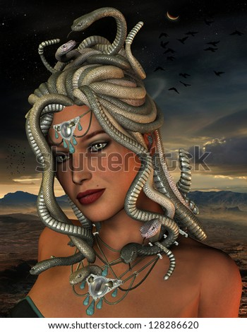 3D rendering of the mythological Medusa - stock photo