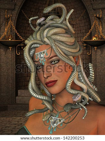 3D rendering of the mythological Medusa in the throne room