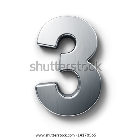 3d rendering of the number 3 in brushed metal on a white isolated background. - stock photo
