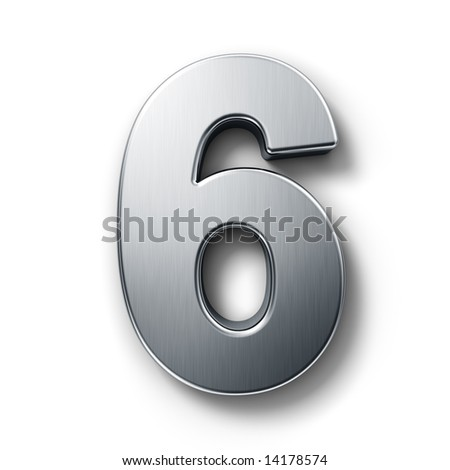 3d rendering of the number 6 in brushed metal on a white isolated background. - stock photo
