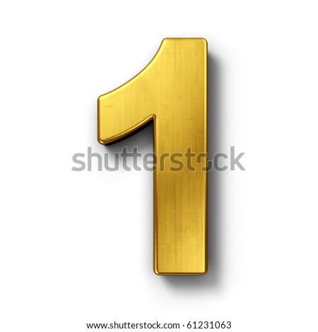 3d rendering of the number 1 in gold metal on a white isolated background.
