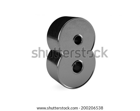 3d rendering of the number 8 scratched metal  - stock photo
