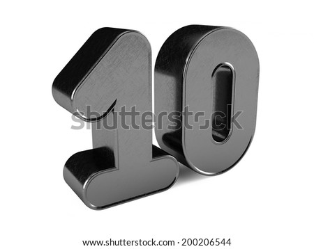 3d rendering of the number 10 scratched metal  - stock photo
